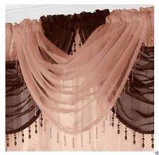 Ready Made Voile Swag X1 Drape Pelmet Curtain Crystal Beaded Trim Swags 56x45cm Coffee