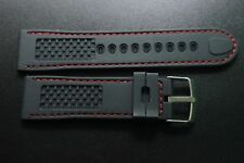 For Fit Lamborghini Racing Series Rubber Silicone Black Watch band Strap 24MM