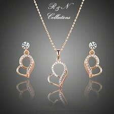 18K Rose Gold Plated Made W/Swarovski Crystal Drop Earrings Pendant Necklace Set