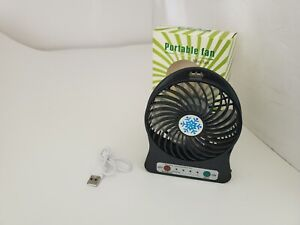 NEW Black Rechargeable Mini Portable USB High 8 Hr 3 Speed Cooling Fan H17
