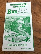 More details for continental trailways bus shedule . glen canyon route 1960