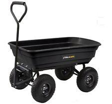 Gorilla Carts 3-cu ft Poly Yard Cart Garden Wagon Steel Utility Heavy Duty lb w