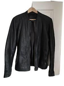 Real Leather Mens Biker / Rocker Black Leather Jacket Size Small