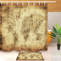 Bathroom waterproof vynil fabric shower curtain clear world map bath fabric shower curtain ancient world map waterproof bathroom decor hooks mat set gumiabroncs