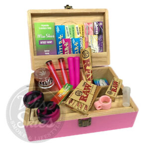 Wise Skies Jumbo Pink Rolling Box Set Large Storage Box Raw Papers Crusher Tips
