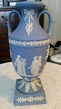Rare 9 inch Wedgwood Blue Jasperware Bolted Urn Shape Trophy Vase!