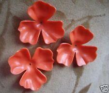 20 Vintage Lucite/plastic flowers beads, orange,48mm