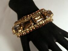 "Glitzy!! Vintage Topaz Rhinestone Encrusted Designer 1 1/8"" Wide Bracelet"