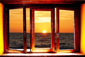 TRAMONTO tromp l'oeil  FINESTRA TRAMONTO   sunset stamap su tela
