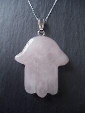 "Hamsa Hand Rose Quartz Necklace 925 Sterling Silver 18"" Pendant Fatima Luck Gift"