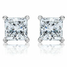 Princess 1.00 Ct Moissanite Diamond Stud Hallmarked 14K White Gold Earring Stud