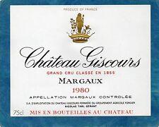 MARGAUX VIEILLE ETIQUETTE CHATEAU GISCOURS 1980 75 CL   §19/08/17§