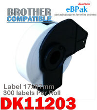 6 x Compatible Thermal Label DK-11203 17 x 87mm 300pcs/Roll for Brother DK11203