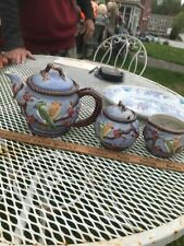 3 Piece Majorca Pottery Tea Set Gorgeous Blue Perfect Shape