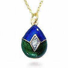 Faberge Inspired Imperial Blue/Green Enameled Egg Pendant