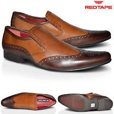 Mens Leather Smart Slip On Brown Tan Wedding Dress Office Formal Shoes Sizes UK