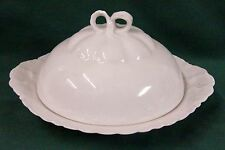 Haviland RANSON WHITE Three Part Round Butter Dish with Lid BEST!