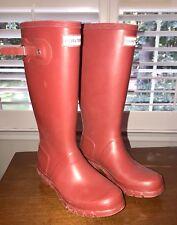 HUNTER Women's Tall Rain Boots MATTE RED US 6.5 EU 37