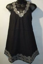 Top Fits XL 1X 2X Plus Tunic Black Silver Sequins Embroidery V Neck Tank NWT 625