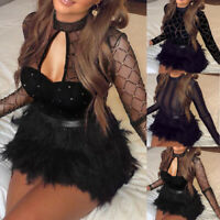 Women Long Sleeve Sheer Mesh Faux Feather Patchwork Club Party Mini Dress