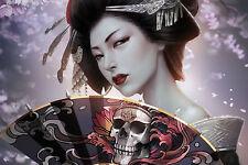 Lámina-Japonesa Geisha Con una Spiked Ventilador (imagen Cartel luchando Arte)
