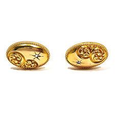 SOLID 10K YELLOW GOLD & DIAMOND ANTIQUE STYLE CUFFLINKS