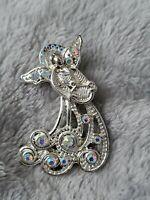 Angel Silver Toned Guardian Angel Pin Aurora AB Brooch Angels Jewellery