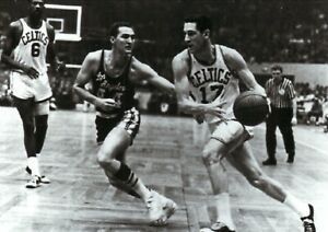 Havilcek--Russell--West--Boston Celtics--Los AngelesLakers--Glossy 5X7 B&W Photo