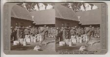 WWI BRITISH STEREOVIEW - GURKHAS DRAWING RATIONS AT AN OLD FRENCH FARM