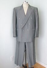 VGC Vtg 80s New Wave Gray Pink Blue Pinstripe 2-Pc Zoot Suit Pleated Pants 50