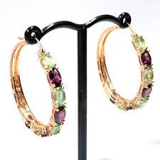 Meher's Jewel Rose Vermeil Mint Kyanite & Rhodolite Gemstone Hoop Silver Earring