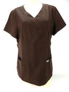 Greys Anatomy Barco Solid Brown Nursing Vet Scrub Top L Large Style #4153