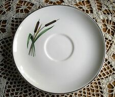 Vintage Universal Oven Proof White Cattail Saucer w/ Silver Trim ~