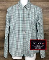 UNTUCKit Mens Slim Fit Wrinkle-Free Green Black Plaid Long Sleeve Button Shirt L