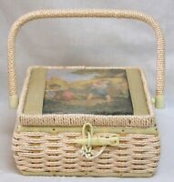Vintage Sewing Box Rattan Satin Lid with Colorful Image Plastic Latch Satin Pinc