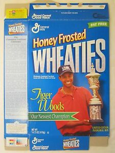 Empty Honey Frosted WHEATIES Cereal Box 1998 TIGER WOODS Our Newest Champion