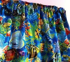 "Tropical Blue Sea Valance Ocean Fish 43""W x 15""L Cotton Custom Window Treatment"