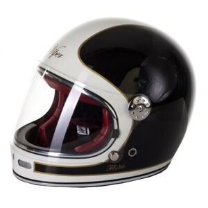 VIPER F656 RETRO FIBREGLASS FULL FACE MOTORBIKE MOTORCYCLE HELMET BLACK/WHITE XS