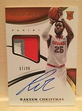 2015 Panini Immaculate College BK Rakeem Christmas Patch Autographs RC 57/99