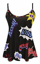 Womens Plain Swing Vest Sleeveless Top Strappy Cami Ladies Plus Size Flared Boom Print UK 26-28