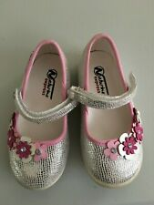 Naturino Sz 6 Mary Jane Shoes Silver Sparkles Pink Flowers Toddler Girl Boutique