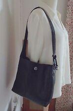 Brighton black pebbled leather & croc shoulder bag, tote, hobo Serial # C472622