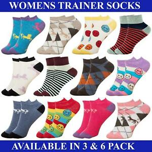 Womens Ladies Ankle Socks Trainer 3 6 Pairs Girls Cotton Sports Liner Size 4-7