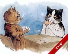 CATS SMOKING & PLAYING CARDS LOUIS WAIN PAINTING FUN CAT ART REAL CANVAS PRINT