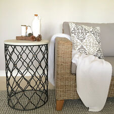 Black Metal Side Table with Rustic White Timber Top/Bedside Table/Lamp Table