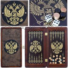 "Wooden Backgammon Board 12"" Travel Backgammon Set RUSSIAN EAGLE Cool Gift НАРДЫ"