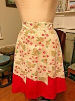 Half Apron Cotton Vtg 55-65 Roses Tea Pink Red Geometric Red Trim 5 panels EXC