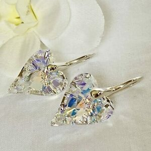 925 Silver 17mm Wild Heart Earrings Jewellery AB Made With Swarovski® Crystal
