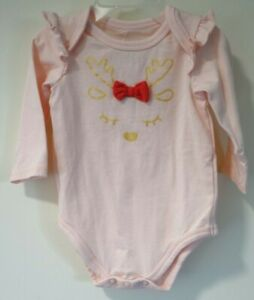 NWT Macy's First Impressions Holiday Reindeer One Piece Top Girl's Size 3-6M
