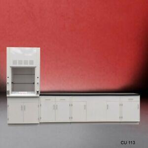 3' Fisher American Fume Hood w/ Storage &10' Laboratory Cabinet Group / E1-496